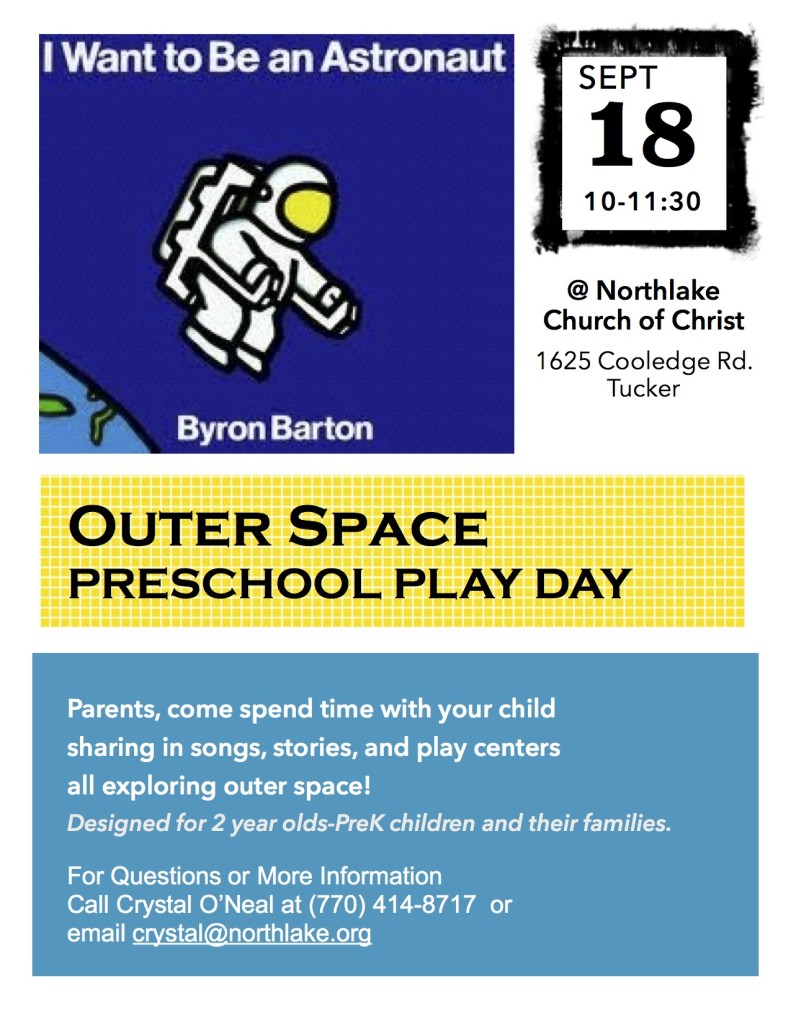 Sept. 18 Play Day- Space